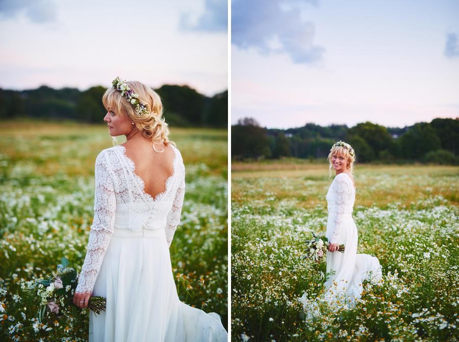 bröllopsfotograf boho bohemiskt göteborg solnegång brudbukett
