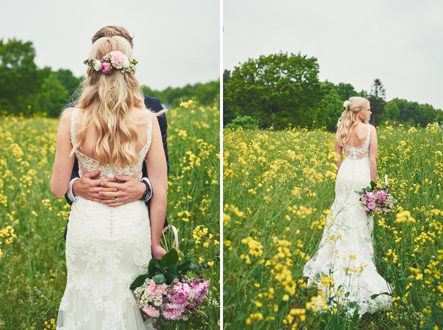 bröllopsfotograf halmstad brudpar rapsfält